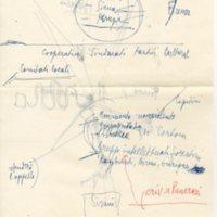 foglio manoscritto con appunti di Aldo Capitini, Marcia Camucia-Cortona 1962, facciata 1